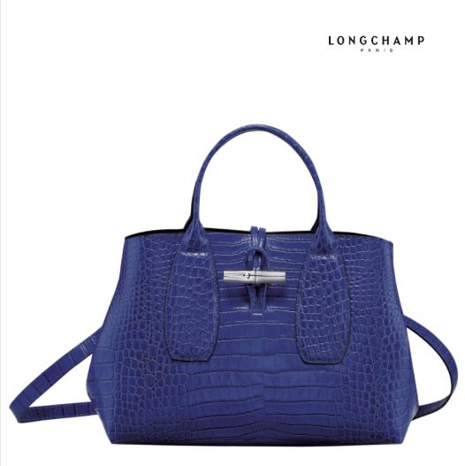 Longchamp墨蓝色鳄鱼纹手提包