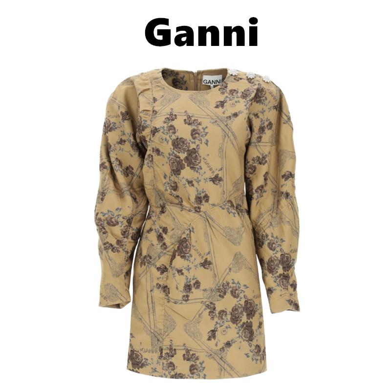 金色秋天的复古色~Ganni牛皮纸色花朵印花连衣裙